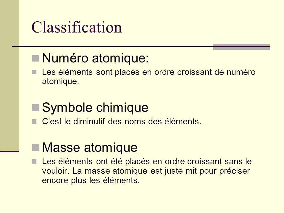 Classification Numéro atomique: Les éléments sont placés en ordre croissant de numéro atomique. Symbole chimique Cest le diminutif des noms des élémen