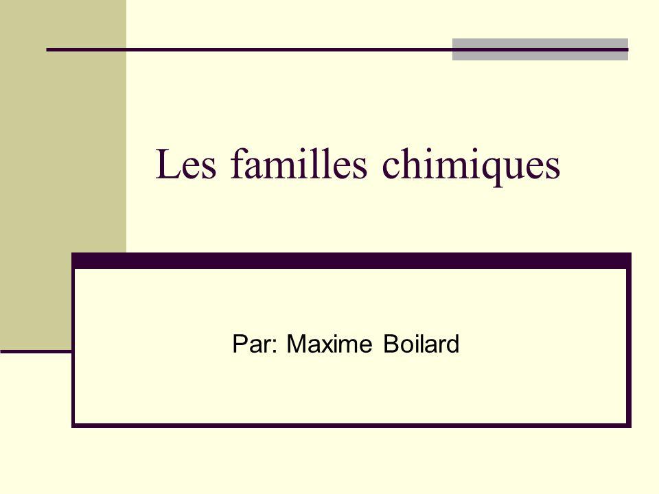 Les familles chimiques Les colonnes du tableau Une famille chimique constitue à plusieurs élément dans une même colonne dans le tableau périodique des éléments.