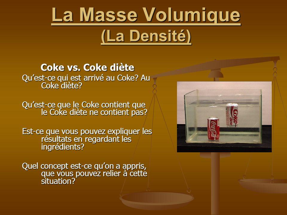 La Masse Volumique (La Densité) Coke vs. Coke diète Quest-ce qui est arrivé au Coke? Au Coke diète? Quest-ce que le Coke contient que le Coke diète ne
