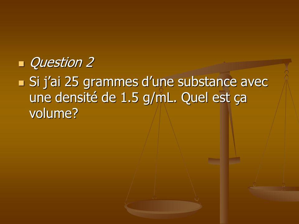Question 2 Question 2 Si jai 25 grammes dune substance avec une densité de 1.5 g/mL. Quel est ça volume? Si jai 25 grammes dune substance avec une den