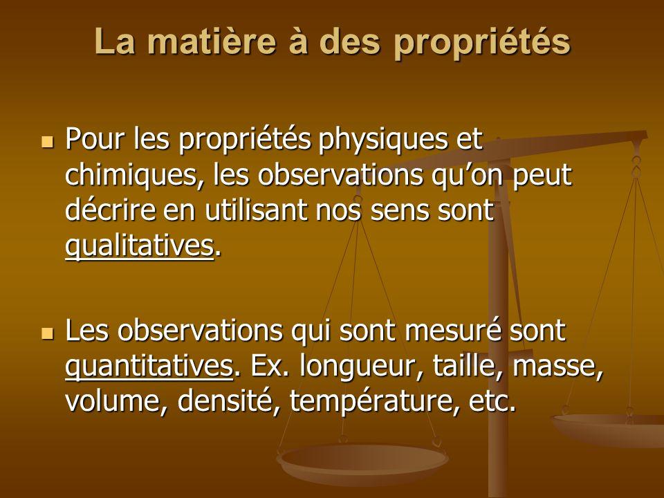 La matière à des propriétés Pour les propriétés physiques et chimiques, les observations quon peut décrire en utilisant nos sens sont qualitatives. Po