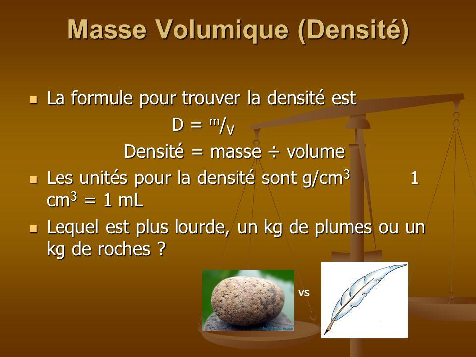 Masse Volumique (Densité) La formule pour trouver la densité est La formule pour trouver la densité est D = m / V Densité = masse ÷ volume Les unités