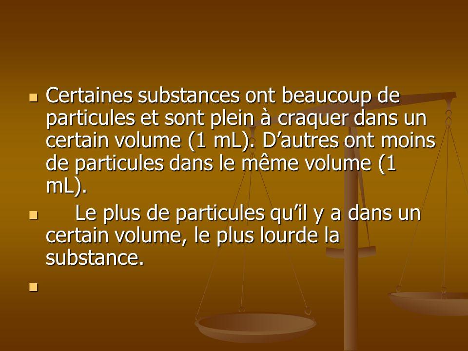 Certaines substances ont beaucoup de particules et sont plein à craquer dans un certain volume (1 mL). Dautres ont moins de particules dans le même vo