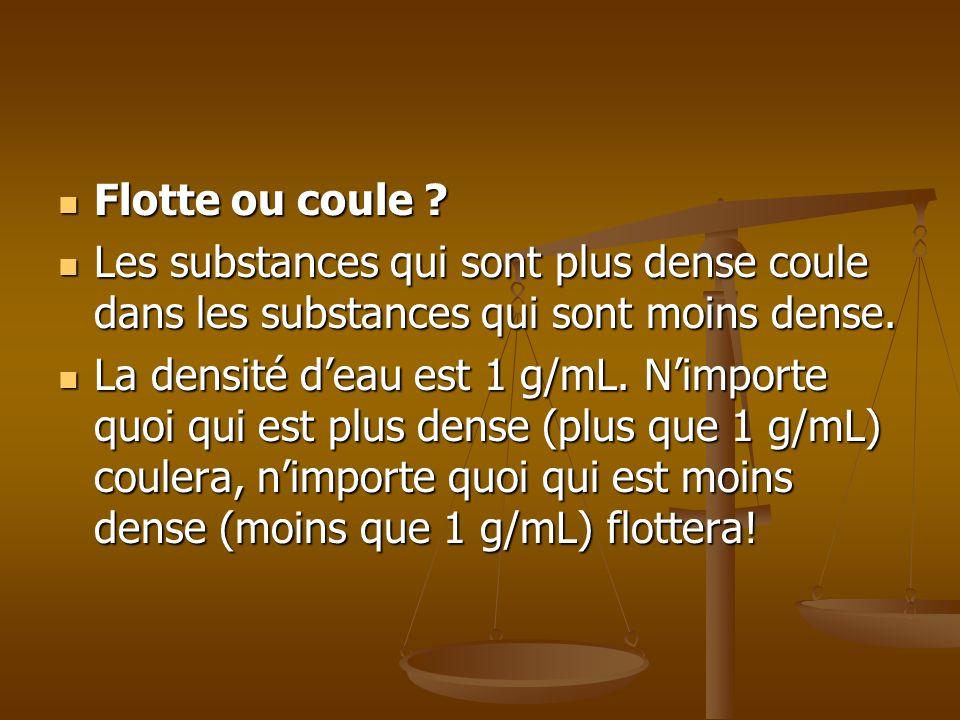 Flotte ou coule ? Flotte ou coule ? Les substances qui sont plus dense coule dans les substances qui sont moins dense. Les substances qui sont plus de