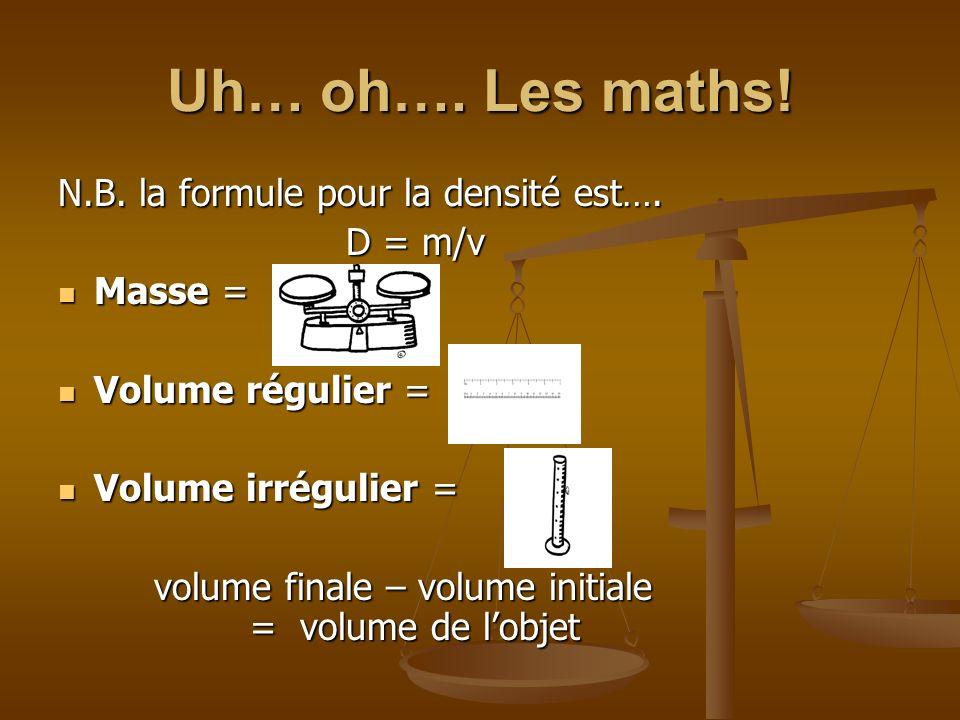 Uh… oh…. Les maths! N.B. la formule pour la densité est…. D = m/v Masse = Masse = Volume régulier = Volume régulier = Volume irrégulier = Volume irrég