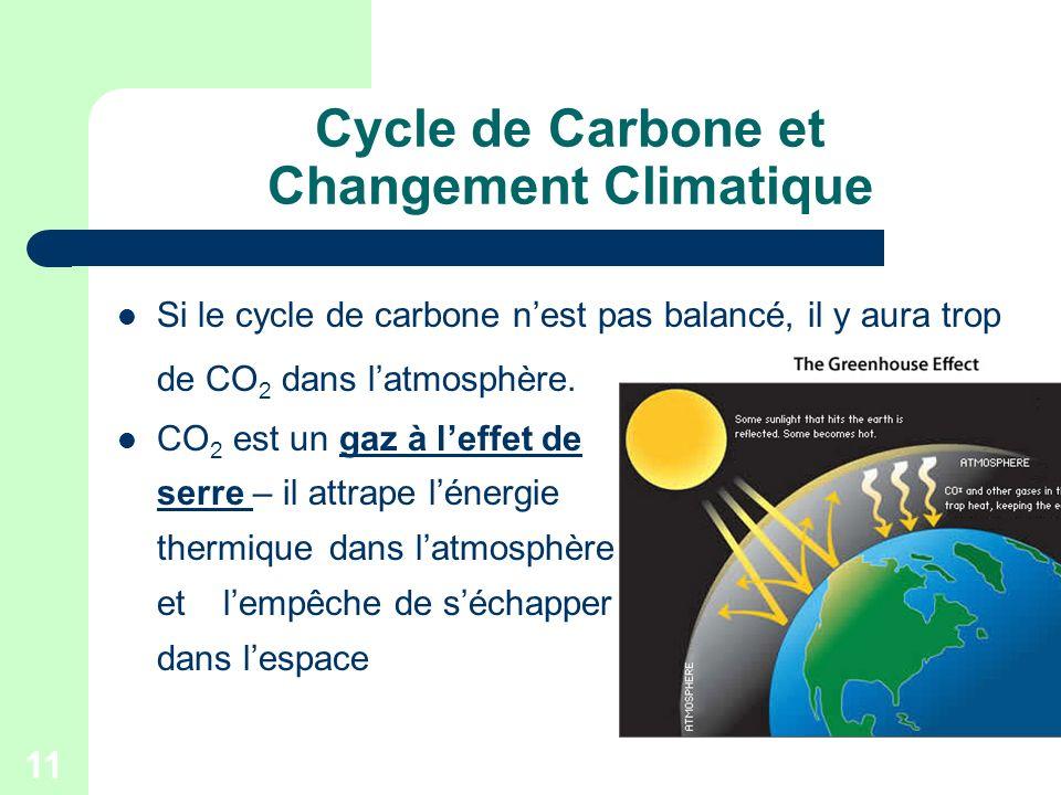 11 Cycle de Carbone et Changement Climatique Si le cycle de carbone nest pas balancé, il y aura trop de CO 2 dans latmosphère. CO 2 est un gaz à leffe