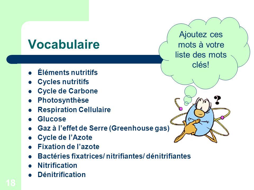 18 Vocabulaire Éléments nutritifs Cycles nutritifs Cycle de Carbone Photosynthèse Respiration Cellulaire Glucose Gaz à leffet de Serre (Greenhouse gas
