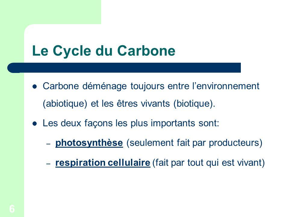 6 Le Cycle du Carbone Carbone déménage toujours entre lenvironnement (abiotique) et les êtres vivants (biotique). Les deux façons les plus importants
