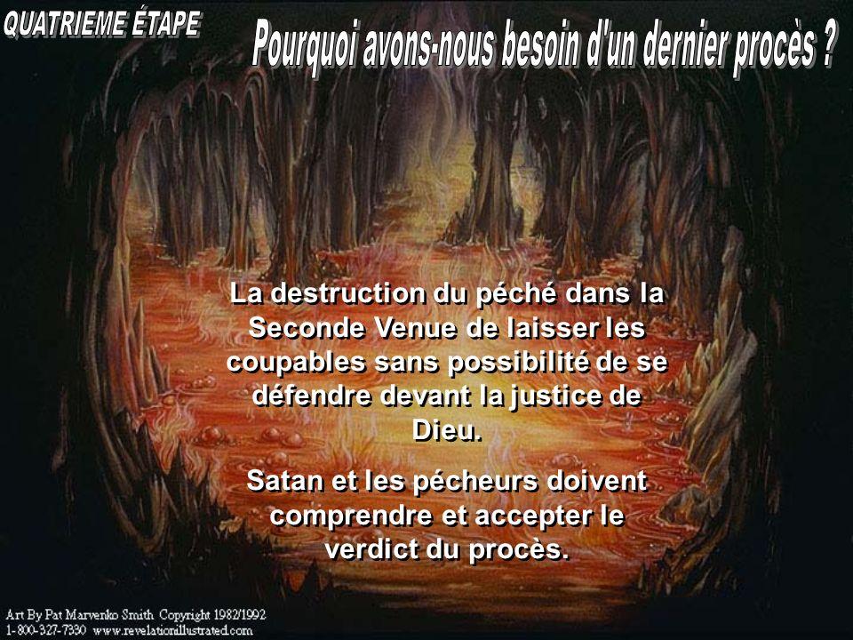 La destruction du péché dans la Seconde Venue de laisser les coupables sans possibilité de se défendre devant la justice de Dieu. Satan et les pécheur
