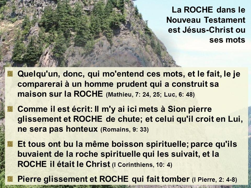 La ROCHE dans le Nouveau Testament est Jésus-Christ ou ses mots Quelqu'un, donc, qui mo'entend ces mots, et le fait, le je comparerai à un homme prude