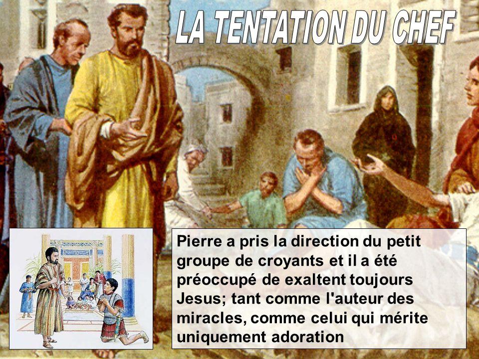 Pierre a pris la direction du petit groupe de croyants et il a été préoccupé de exaltent toujours Jesus; tant comme l'auteur des miracles, comme celui