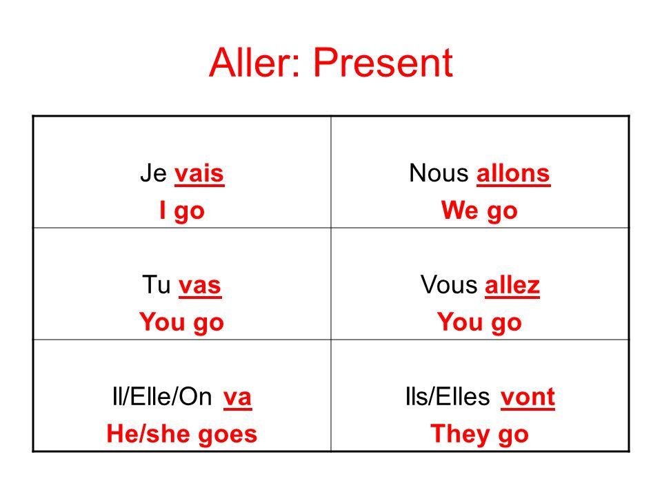 Aller: Passé Composé Je suis allé(e) I went Nous sommes allé(es) We went Tu es allé(e) You went Vous êtes allé(es) You went Il/Elle/On est allé(e) He/she went Ils/Elles sont allé(es) They went
