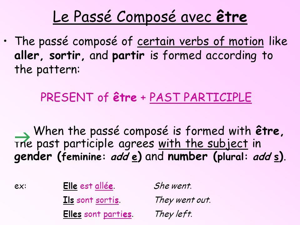 Les verbes conjugués avec etre...