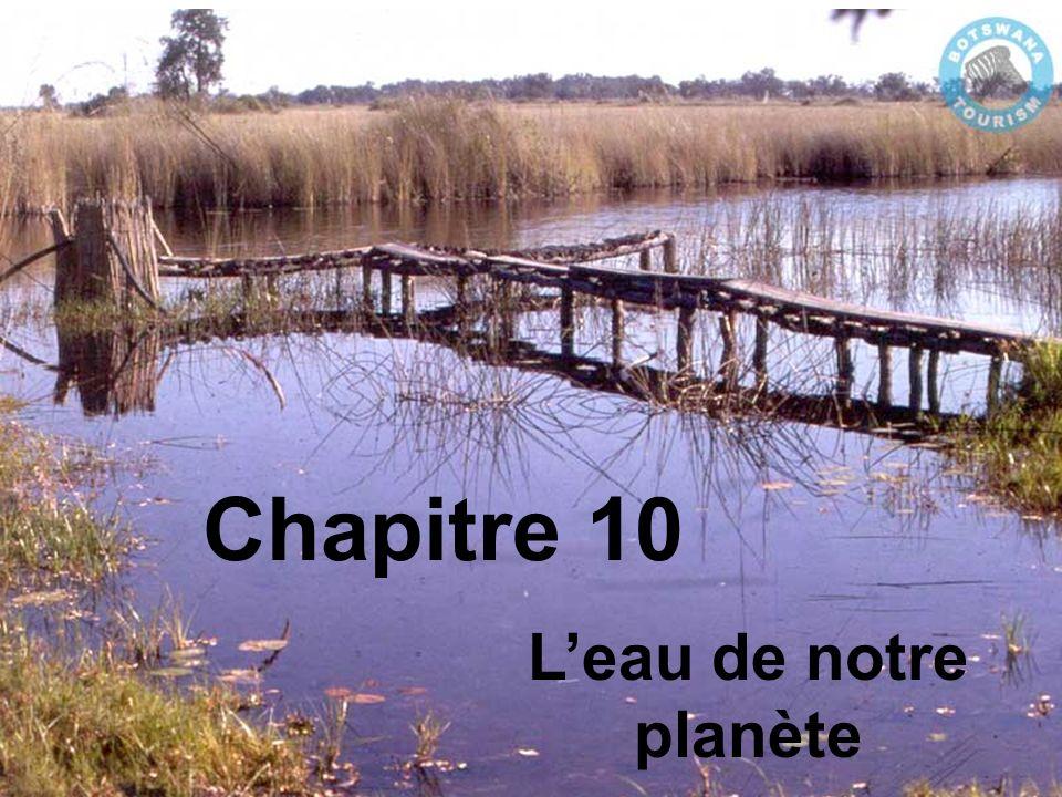 Chapitre 10.2 - Eau sur terre et eau sous terre Les rivières et les lacs sont une forme visible deau douce, mais la plupart des précipitations pénétre dans le sol.