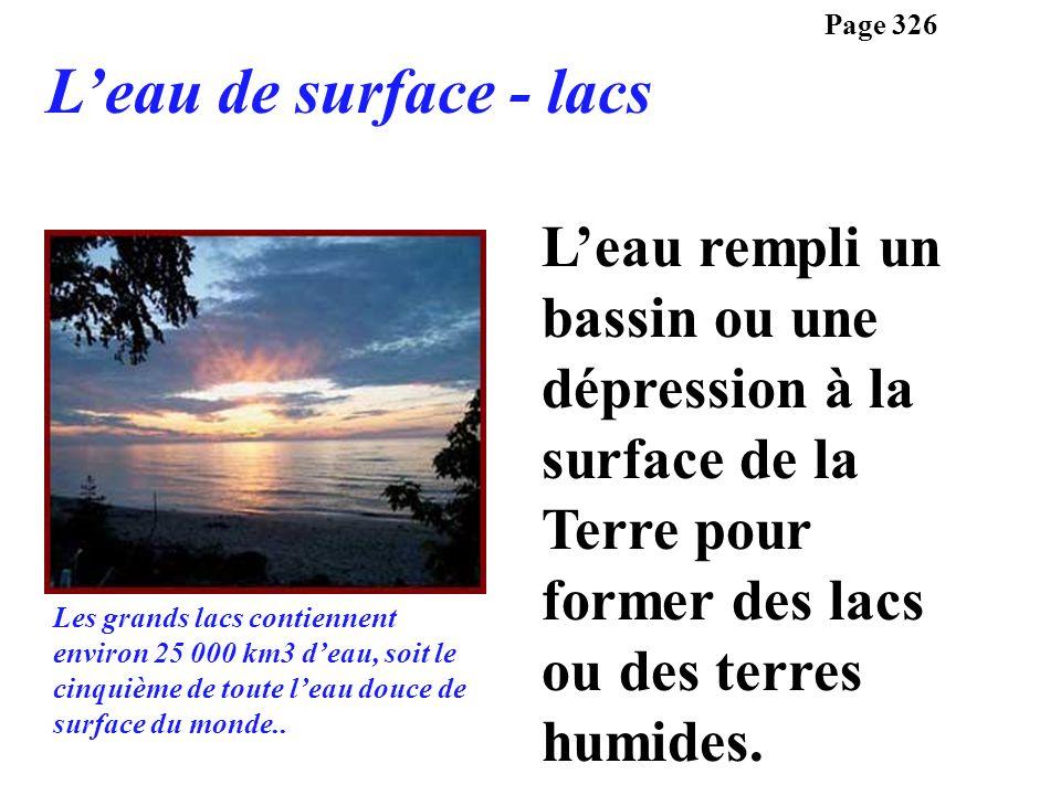 Leau rempli un bassin ou une dépression à la surface de la Terre pour former des lacs ou des terres humides. Page 326 Leau de surface - lacs Les grand
