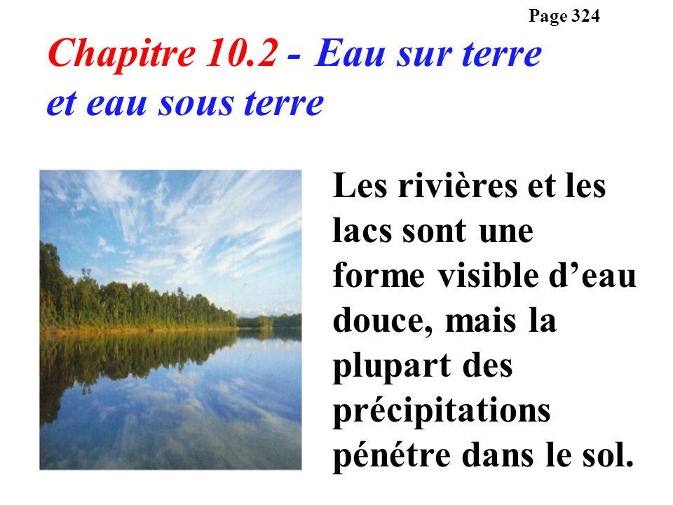 Chapitre 10.2 - Eau sur terre et eau sous terre Les rivières et les lacs sont une forme visible deau douce, mais la plupart des précipitations pénétre
