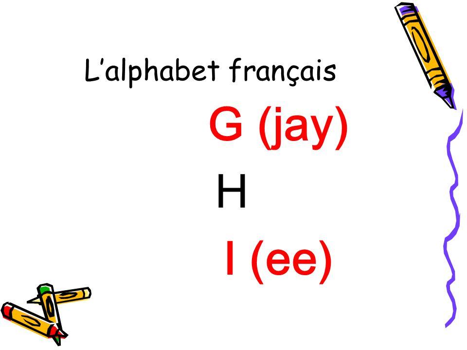 Lalphabet français G (jay) H I (ee)