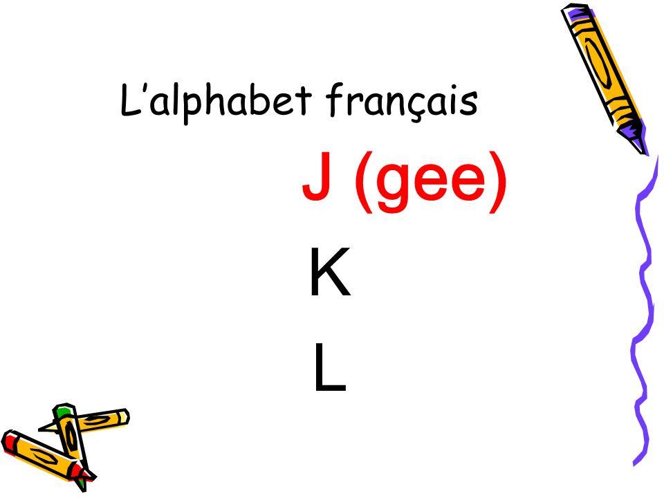 Lalphabet français J (gee) K L