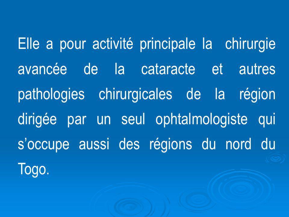 Elle a pour activité principale la chirurgie avancée de la cataracte et autres pathologies chirurgicales de la région dirigée par un seul ophtalmologi