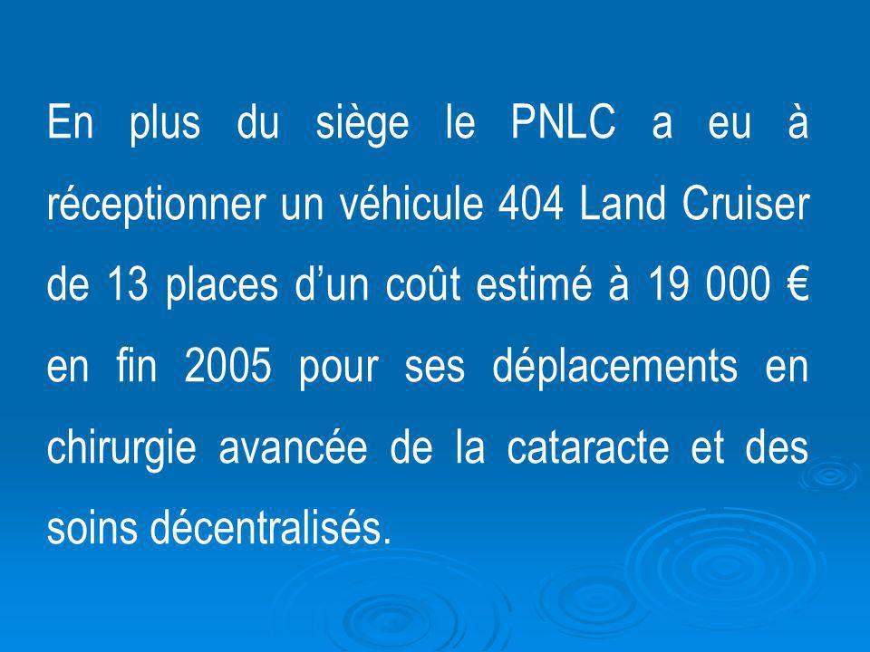 En plus du siège le PNLC a eu à réceptionner un véhicule 404 Land Cruiser de 13 places dun coût estimé à 19 000 en fin 2005 pour ses déplacements en c