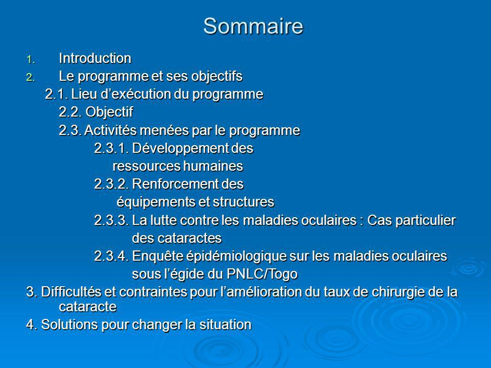 1. Introduction 2. Le programme et ses objectifs 2.1. Lieu dexécution du programme 2.1. Lieu dexécution du programme 2.2. Objectif 2.3. Activités mené