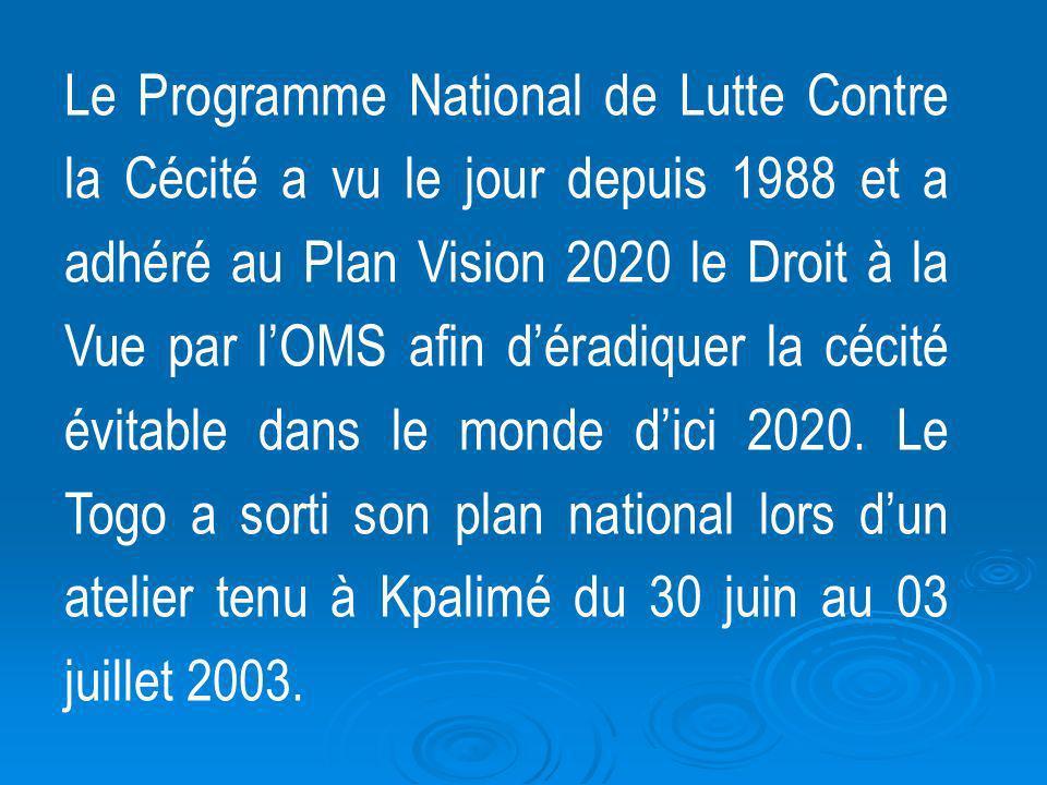 Le Programme National de Lutte Contre la Cécité a vu le jour depuis 1988 et a adhéré au Plan Vision 2020 le Droit à la Vue par lOMS afin déradiquer la