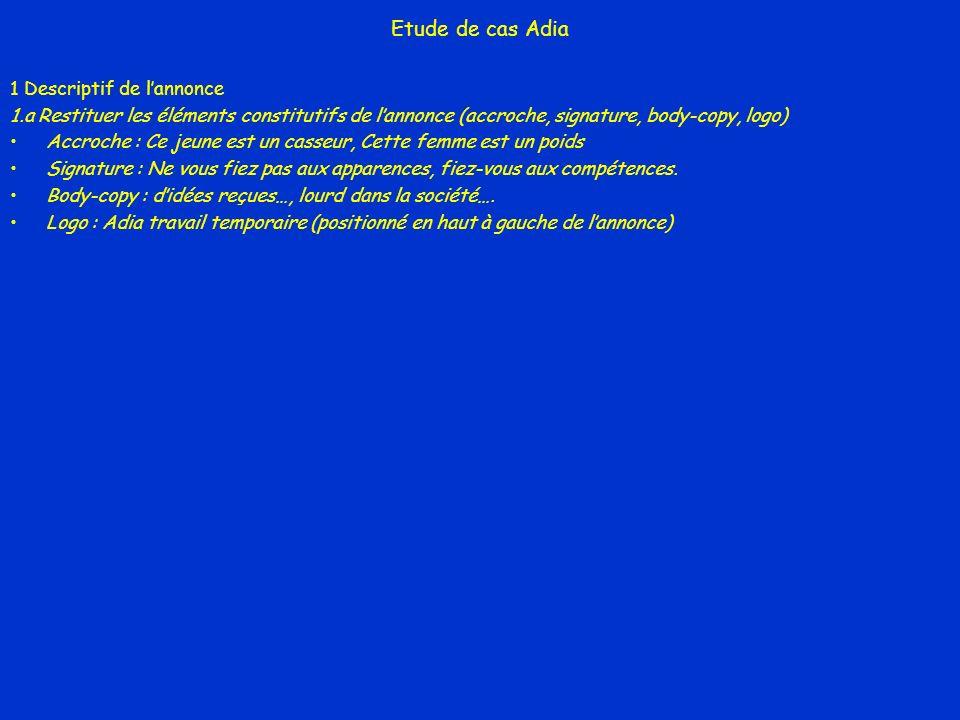 Etude de cas Adia 1 Descriptif de lannonce 1.a Restituer les éléments constitutifs de lannonce (accroche, signature, body-copy, logo) Accroche : Ce je