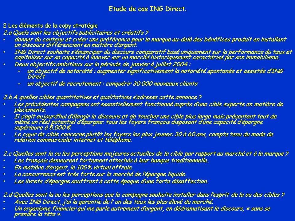 Etude de cas ING Direct. 2 Les éléments de la copy stratégie 2.a Quels sont les objectifs publicitaires et créatifs ? donner du contenu et créer une p