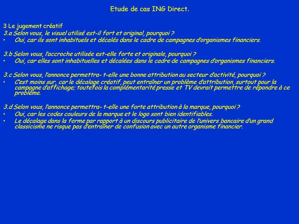 Etude de cas ING Direct. 3 Le jugement créatif 3.a Selon vous, le visuel utilisé est-il fort et original, pourquoi ? Oui, car ils sont inhabituels et