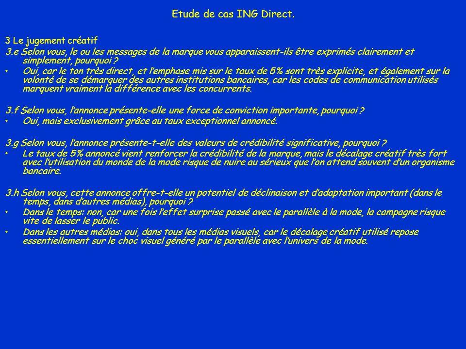 Etude de cas ING Direct. 3 Le jugement créatif 3.e Selon vous, le ou les messages de la marque vous apparaissent-ils être exprimés clairement et simpl