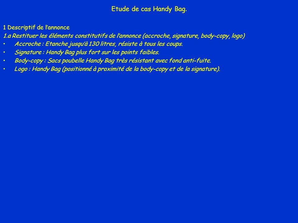 Etude de cas Handy Bag. 1 Descriptif de lannonce 1.a Restituer les éléments constitutifs de lannonce (accroche, signature, body-copy, logo) Accroche :