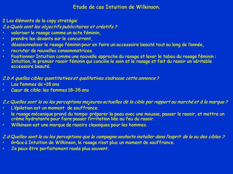 Etude de cas Intuition de Wilkinson. 2 Les éléments de la copy stratégie 2.a Quels sont les objectifs publicitaires et créatifs ? valoriser le rasage