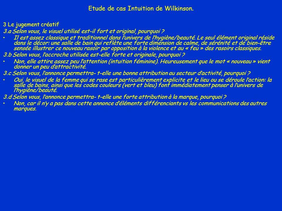 Etude de cas Intuition de Wilkinson. 3 Le jugement créatif 3.a Selon vous, le visuel utilisé est-il fort et original, pourquoi ? Il est assez classiqu