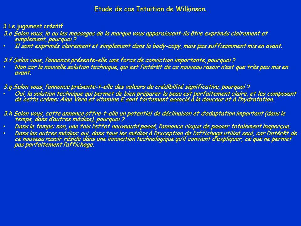 Etude de cas Intuition de Wilkinson. 3 Le jugement créatif 3.e Selon vous, le ou les messages de la marque vous apparaissent-ils être exprimés clairem