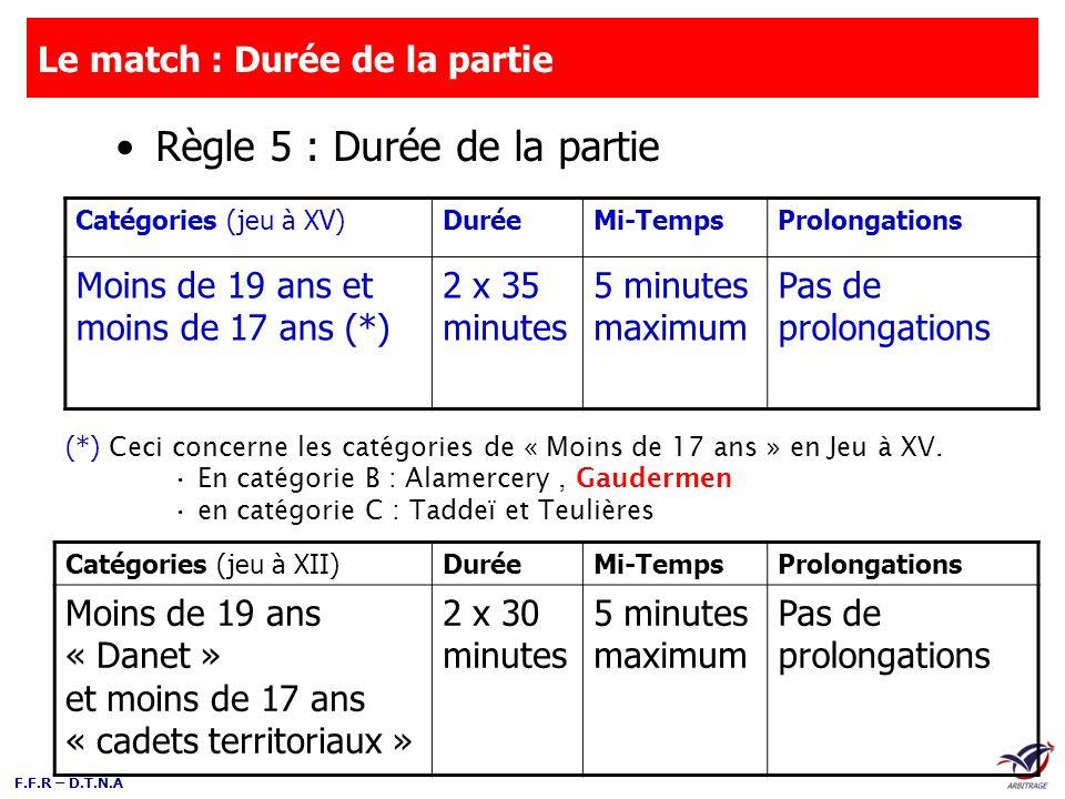 F.F.R – D.T.N.A Le match : Durée de la partie Règle 5 : Durée de la partie Catégories (jeu à XV)DuréeMi-TempsProlongations Moins de 19 ans et moins de