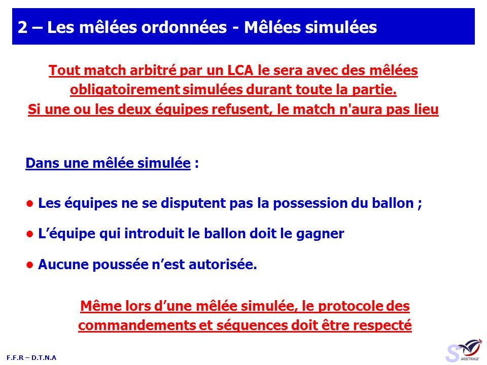 F.F.R – D.T.N.A 2 – Les mêlées ordonnées - Mêlées simulées Dans une mêlée simulée : Les équipes ne se disputent pas la possession du ballon ; Léquipe