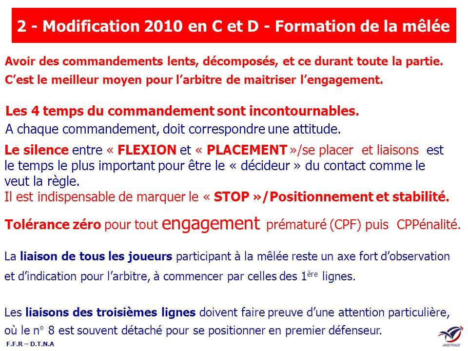 F.F.R – D.T.N.A Tolérance zéro pour tout engagement prématuré (CPF) puis CPPénalité. 2 - Modification 2010 en C et D - Formation de la mêlée Les 4 tem