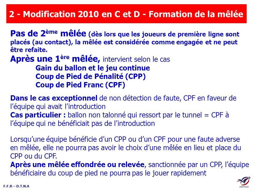 F.F.R – D.T.N.A 2 - Modification 2010 en C et D - Formation de la mêlée Dans le cas exceptionnel de non détection de faute, CPF en faveur de léquipe q