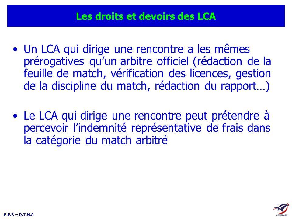F.F.R – D.T.N.A Les droits et devoirs des LCA Un LCA qui dirige une rencontre a les mêmes prérogatives quun arbitre officiel (rédaction de la feuille