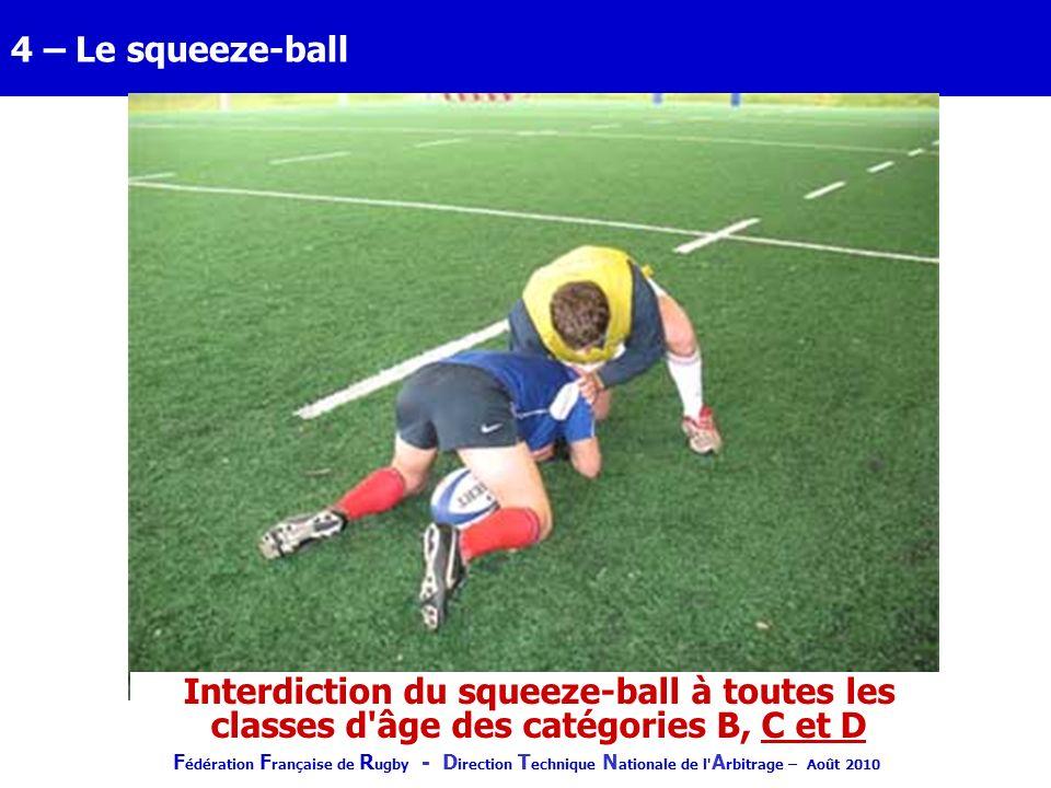 F édération F rançaise de R ugby - D irection T echnique N ationale de l' A rbitrage – Août 2010 4 – Le squeeze-ball Interdiction du squeeze-ball à to