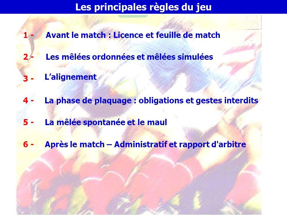 F.F.R – D.T.N.A 1 - Avant le match – Le contrôle des licences Le contrôle des licences - Composition d une licence : Atteste de la qualification du joueur pour la saison en cours, du club dans lequel il est licencié, de sa catégorie d âge.