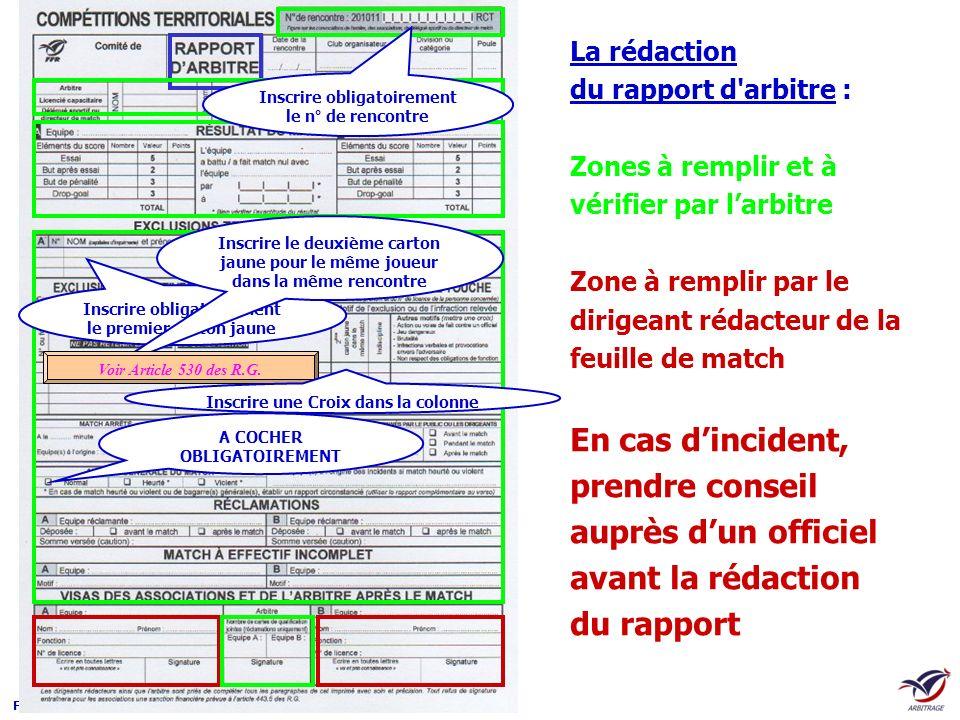 F.F.R – D.T.N.A La rédaction du rapport d'arbitre : Zones à remplir et à vérifier par larbitre Zone à remplir par le dirigeant rédacteur de la feuille