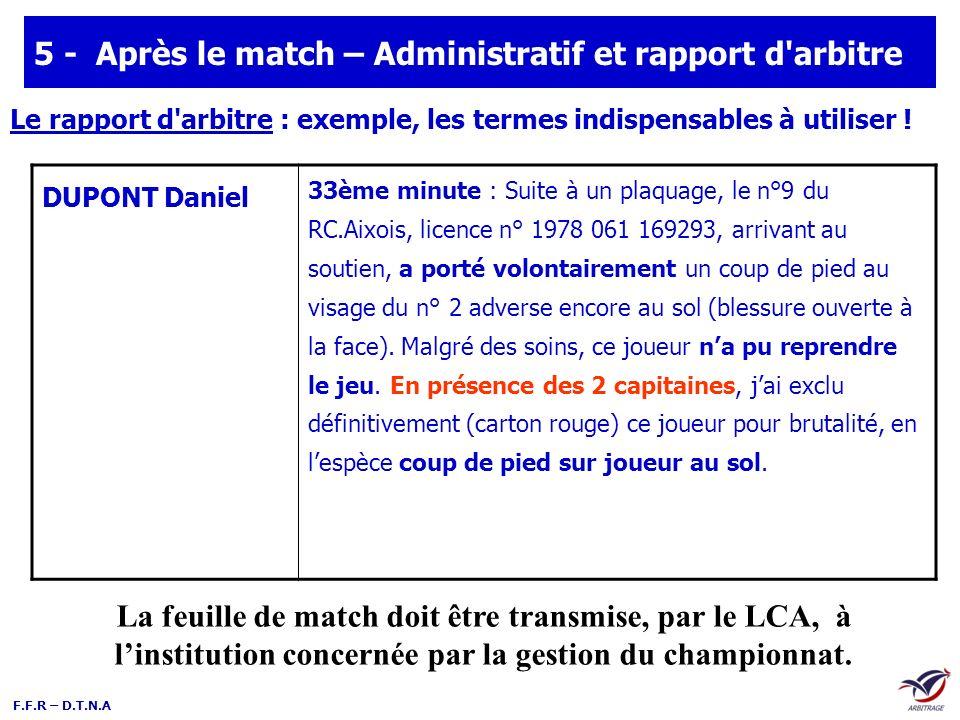 F.F.R – D.T.N.A 5 - Après le match – Administratif et rapport d'arbitre DUPONT Daniel 33ème minute : Suite à un plaquage, le n°9 du RC.Aixois, licence