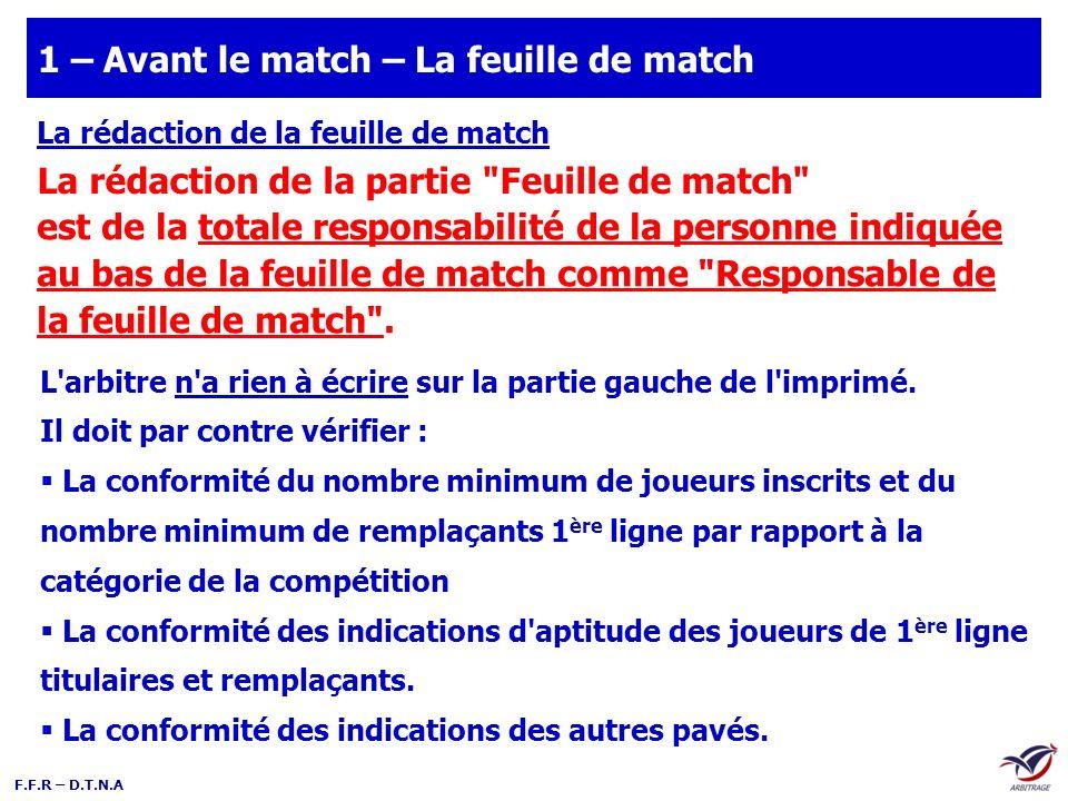 F.F.R – D.T.N.A Le contrôle de la feuille de match Éléments à vérifier sur la partie feuille de match : 4 personnes maximum 2 personnes minimum Voir article 232 des R.G.