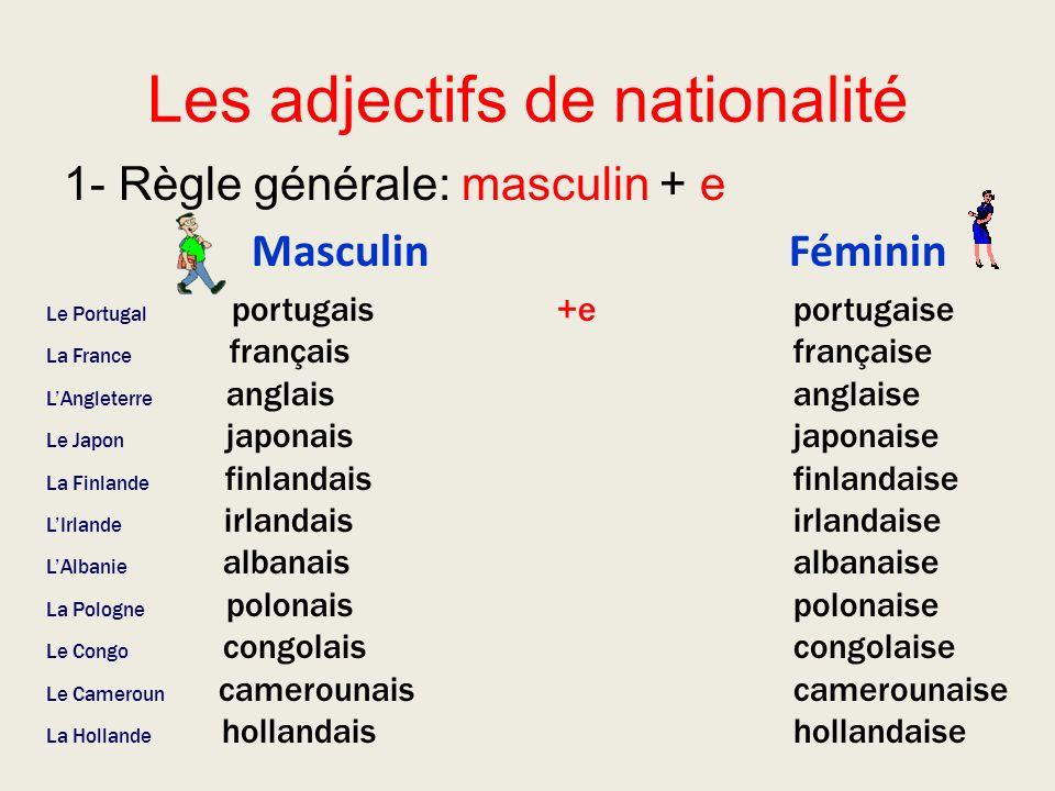 Les adjectifs de nationalité 1- Règle générale: masculin + e Masculin Féminin +e Le Portugal portugais La France français LAngleterre anglais Le Japon