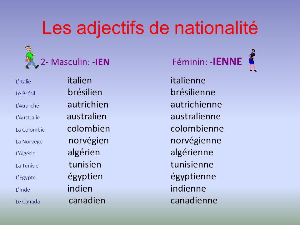 Les adjectifs de nationalité 2- Masculin: -IEN Féminin: - IENNE LItalie italien Le Brésil brésilien LAutriche autrichien LAustralie australien La Colo