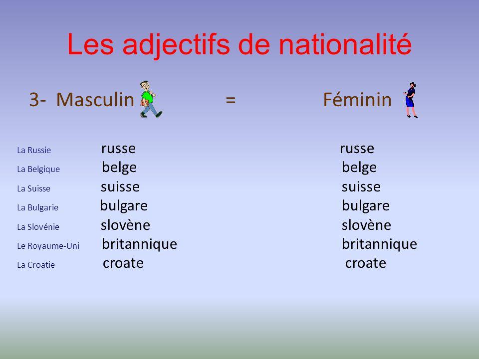 Les adjectifs de nationalité 3- Masculin = Féminin La Russie russe La Belgique belge La Suisse suisse La Bulgarie bulgare La Slovénie slovène Le Royau