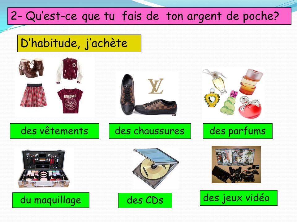 2- Quest-ce que tu fais de ton argent de poche? Dhabitude, jachète des vêtementsdes chaussuresdes parfums du maquillage des CDs des jeux vidéo