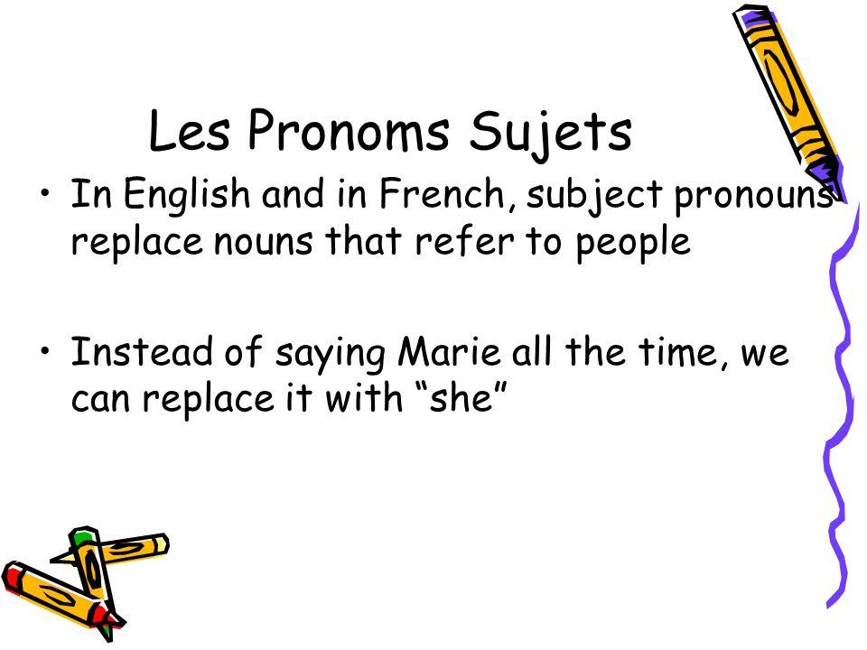 Les Pronoms Sujets List the Subject Pronouns in English