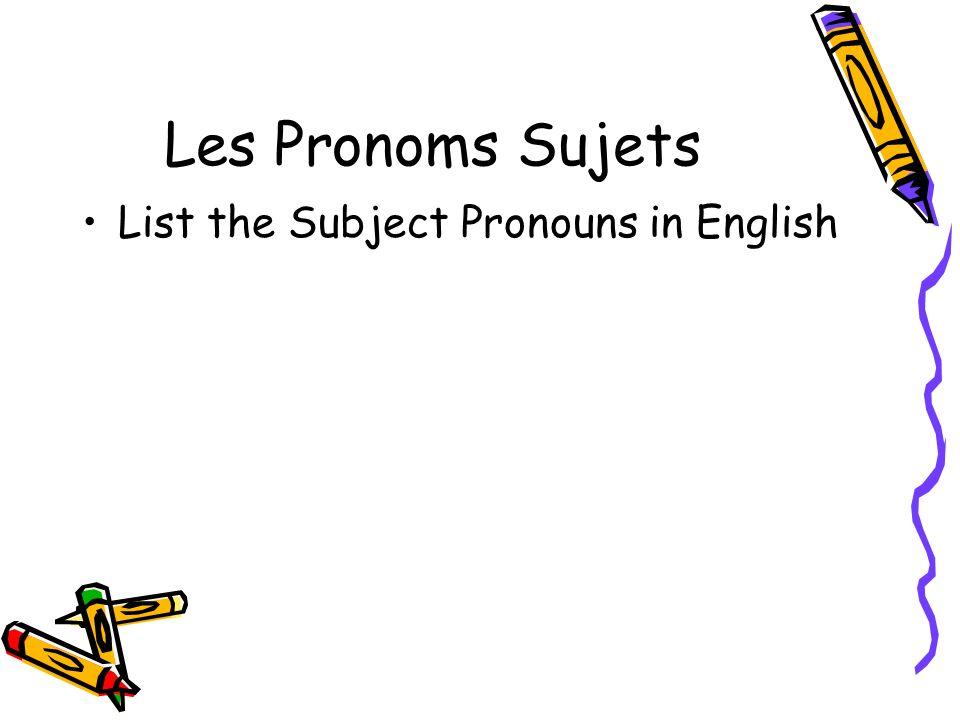 Les Pronoms Sujets The French Equivalents I- JeWe- Nous You- TuYou- Vous He- IlThey (m)- Ils She-ElleThey (f)- Elles
